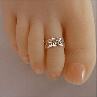 Celebrity Fashion Simple Sliver Plated Adjustable Toe Ring Foot Jewelry SE