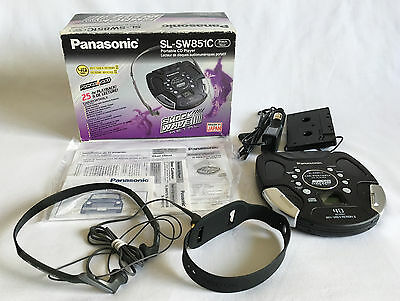 Panasonic SL-SW851C Shock Wave Metal Portable CD Player Box Headphones Car Plug