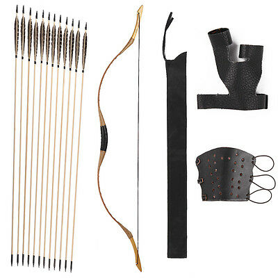 Nice Set China Traditional Longbow 20-80LBS 12 Wood arrows Finger and Arm Guard