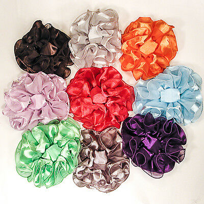 Large Puffy Ruffled Solid Color Chiffon Satin Claw Jaw Clip Hair Bows - H731