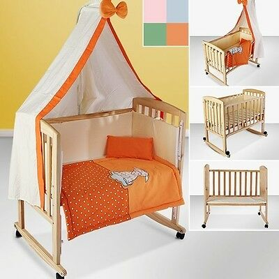 Baby Cot Bassinet Bedside Crib Cradle Bedding Set Mattress Zip Closure Orange