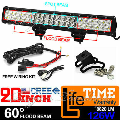 20Inch 126W OSRAM Led Light Bar Spot Flood Offroad Work Driving Lamp Truck 4WD