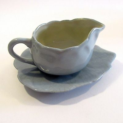 Pretty Vintage Hand Made Blue Ceramic Gravy Boat & Leaf Saucer Shabby Chic
