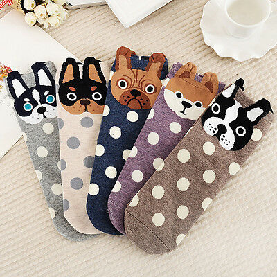 1Pair Fashion 3D Dog Cotton Women Girls Casual Cute Cartoon Warm Polka Dot Socks