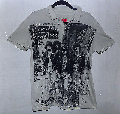 T Shirt, NME Icons Ramones Size L Grey/Off White 2 Button Collar Polo