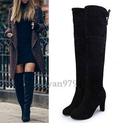 Womens Ladies Over The Knee Boots Suede Shoes High Heel Block Thigh Size