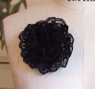 """4""""  VICTORIAN LACE FLOWER Brooch Pin Back (3 pc) - BLACK"""