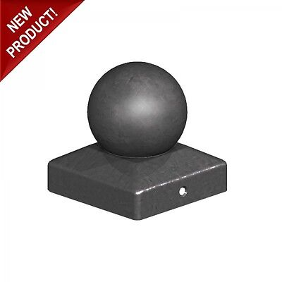 """100mm Epoxy Black Metal Round Ball Fence Finial Post Caps - For 4"""" Posts"""