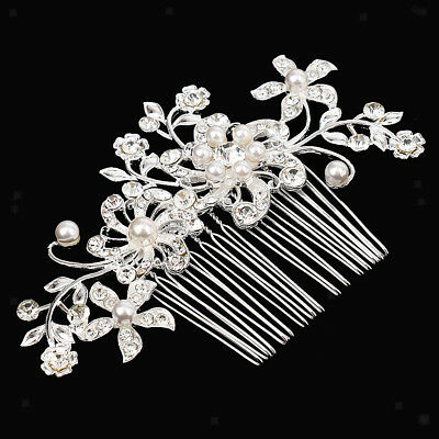 Wedding Hair Accessories Crystal Fauxl Pearl Bridal Hair Comb Clip Headpiece