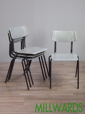 Vintage Mid Century Pel Stacking Industrial School Cafe Bar Chairs 80 AVAILABLE