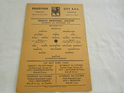 1959-50 NORTH REGIONAL LEAGUE RESERVES   BRADFORD CITY v ACCRINGTON STANLEY