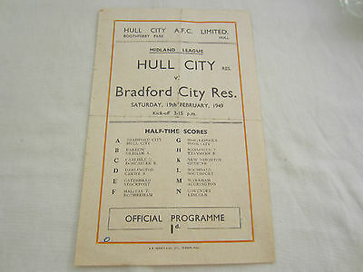 1948-49  MIDLAND RESERVES HULL CITY v   BRADFORD CITY