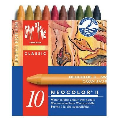 CARAN D'ACHE NEOCOLOR II TIN of 10 water soluble wax pastels - Autumn Special Ed