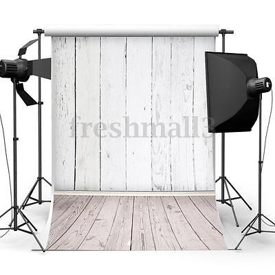 5x7ft White Retro Wood Wall Floor Studio Backdrop Photography Background Props