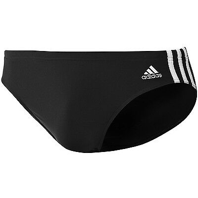 adidas Performance Mens Infinitex 3 Stripe Swimming Swim Trunks Briefs - Black