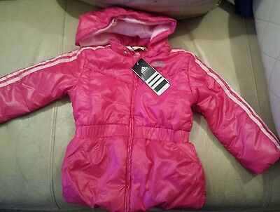 Adidas Girls Padded Jacket for a 3 - 4 year old New with tags Pink