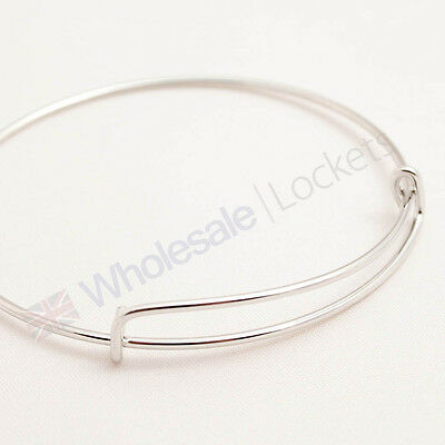 Silver Plated Bangle Bracelet for charms crafts jewellery making wholesale x 5
