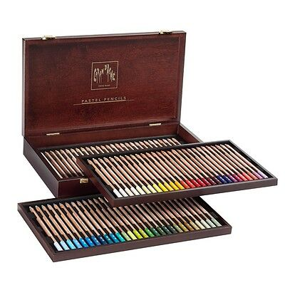 CARAN D'ACHE PASTEL PENCILS - Luxury wooden box of 84 assorted pastel pencils