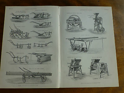 1874 ENGRAVING Agriculture Farming Ploughs EARLY FARM MACHINERY