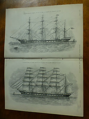 1874 ENGRAVING FOUR MASTED SHIP of the Most RECENT TYPE Rigging, Spars, Hull