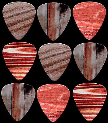 9 PUAS GUITARRA simulacion MADERA - Wood celluloid Guitar picks - MIXED Gauge