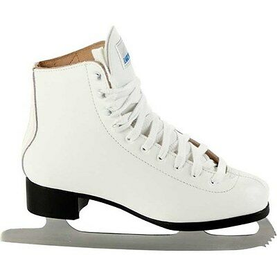 Lake Placid Deluxe Womens Leather Ladies Figure Ice Skates in White UK3 - UK8