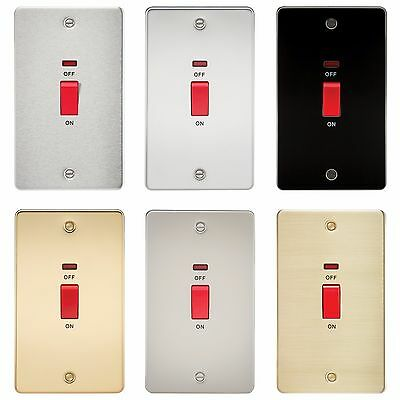 Knightsbridge Flat 45A 45 Amp 2 Gang 2G DP Double Pole Cooker Switch with Neon