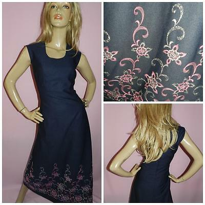 VINTAGE 70s NAVY PINK SILVER EMBROIDERED MAXI EVENING DRESS 12-14 1970s ELEGANT