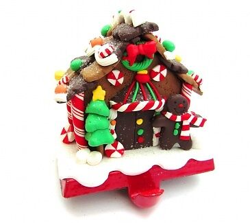 Gisela Graham Weighted Gingerbread Stocking Holder - Cute Traditional Decoration