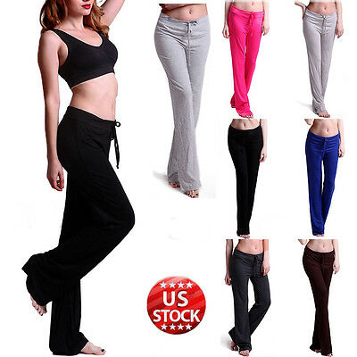 Womens Soft Stretch Athletic Sport Drawstring Lounge Workout Fit Yoga Pants S215