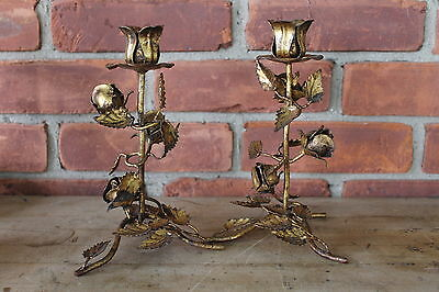 2 Vtg Hollywood Regency Gilt Tole Metal Gold Leaf ROSES Candle Holders -pair-