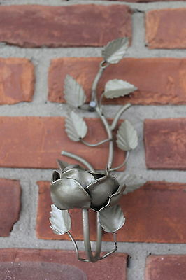 Hollywood Regency  Tole Metal Rose Sconce 1 Candle