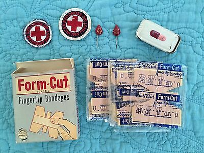 Lot American Red Cross Badges Patches Pill Box Bandages Blood Drop Pins