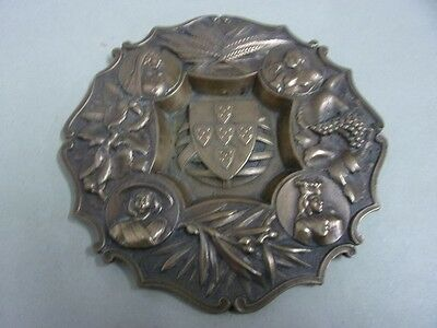 Antique ashtray in bronze with coat of arms and four ladies
