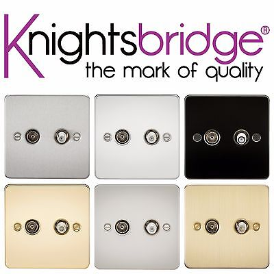 Knightsbridge Flat Plate Twin TV Sat Satellite Outlet Coaxial Isolated Plate