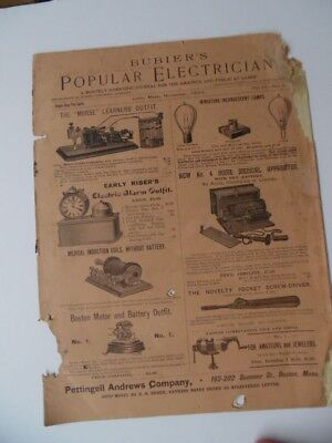 1893 Bubier's Popular Electrician Magazine Antique Electrical Popular Science