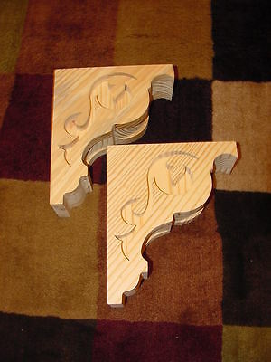 One Pair Wood Corbels..Shelf or Mantle support bracket..8 x 9-1/2..Ships Free