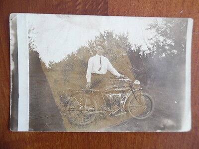 c.1912 Indian Motorcycle Real Photo Postcard Big Twin Cyko Stamp Box Antique