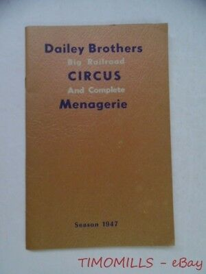 1947 Dailey Brothers Big Railroad Circus Menagerie Official Route Book Program