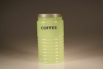 Vintage Jeannette Glass Jade Jadite Ribbed Large Coffee Canister c.1930