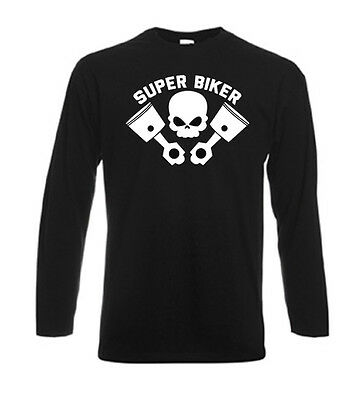 Tshirt noir homme manches longues Fruit Of The Loom SUPER BIKER PISTON