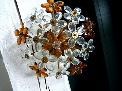 Vintage French Brass And Glass Flowers Ceiling Chandelier 2 Lights