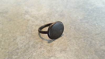 Ancient Roman Bronze RING (#13) Large Round Smooth Bezel, 19 mm, Wearable