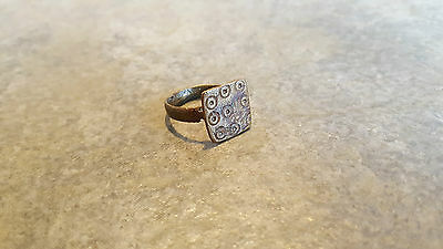 Ancient Roman Bronze RING (#25) Large Square Bezel, Circles, 17 mm, Wearable