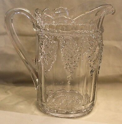 1908 EARLY AMERICAN PATTERN GLASS EAPG LATE PANELED GRAPE PITCHER indiana glass