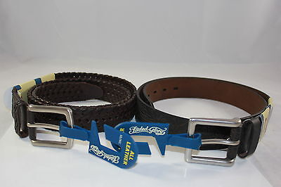 Size 32 3 PACK S All Leather Brown and Dark Brown Faded Glory Brand Belts