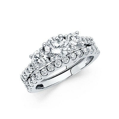 14k Solid White Gold 3.0 CT Diamond Ring Set Engagement Ring with Wedding Band