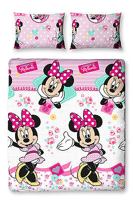 Minnie Mouse Double Duvet Set Quilt Cover Kids Bedroom Reversible Rotary Girls
