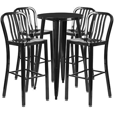 24'' Round Black Metal Indoor-Outdoor Bar Table Set With 4 Barstools