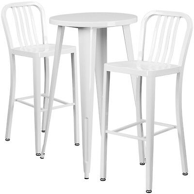 24'' Round White Metal Indoor-Outdoor Bar Table Set With 2 Barstools